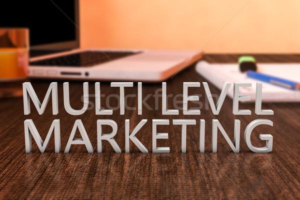 Niveau marketing lettres bois bureau ordinateur portable Photo stock © Mazirama
