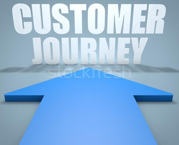Client călătorie 3d face albastru săgeată îndreptat Imagine de stoc © Mazirama