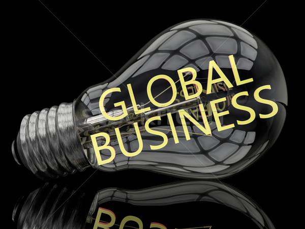 Globális üzlet villanykörte fekete szöveg 3d render illusztráció Stock fotó © Mazirama