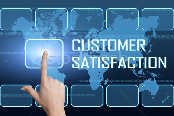 Satisfacción del cliente interfaz mapa del mundo azul negocios mercado Foto stock © Mazirama