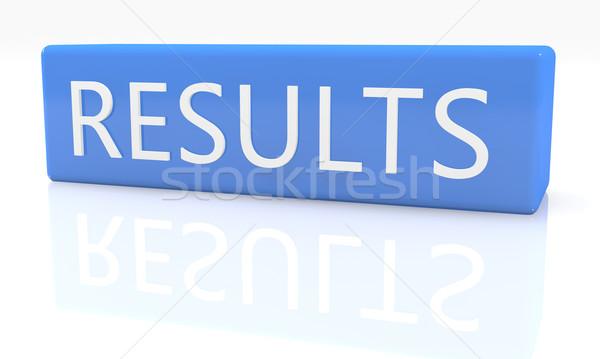 Resultaten 3d render Blauw vak tekst witte Stockfoto © Mazirama