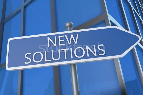 Neue Lösungen Illustration Straßenschild Bürogebäude Business Stock foto © Mazirama