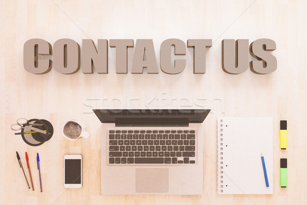 Contact us text concept Stock photo © Mazirama