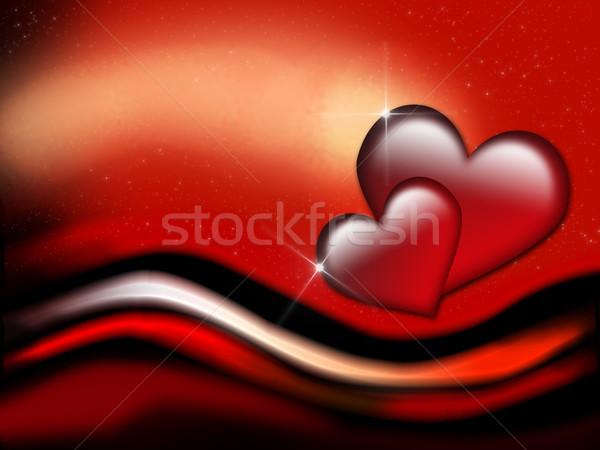 Sevgililer günü kart kırmızı kalpler Yıldız parıltı Stok fotoğraf © Mazirama