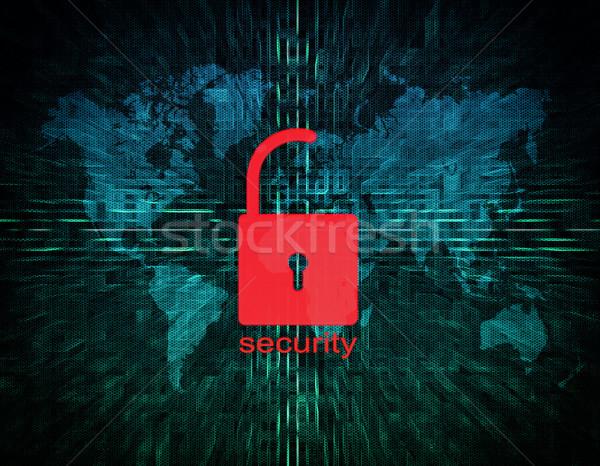 セキュリティ ロック デジタル 画面 世界地図 ウェブ ストックフォト © Mazirama