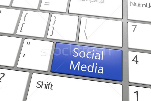 Közösségi média kulcs kék fehér internet billentyűzet Stock fotó © Mazirama