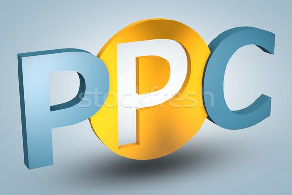 Stock fotó: Illetmény · által · kattintás · betűszó · ppc · kék