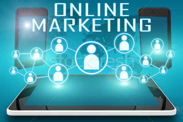 Online marketing tekst illustratie sociale iconen Stockfoto © Mazirama