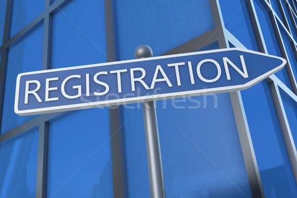 Regisztráció illusztráció jelzőtábla irodaház üzlet terv Stock fotó © Mazirama