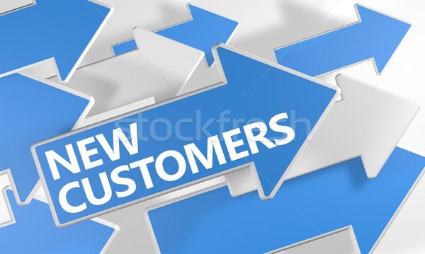 Stock fotó: új · vásárlók · 3d · render · kék · fehér · nyilak