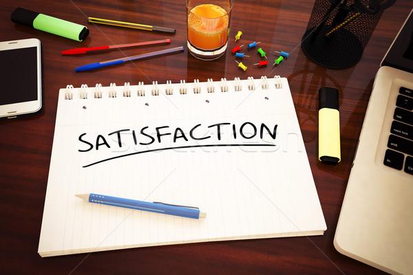 Satisfacción texto cuaderno escritorio 3d Foto stock © Mazirama