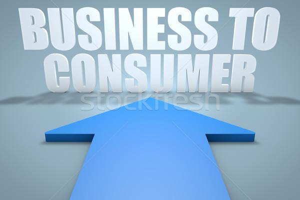 Affaires consommateur rendu 3d bleu flèche pointant Photo stock © Mazirama