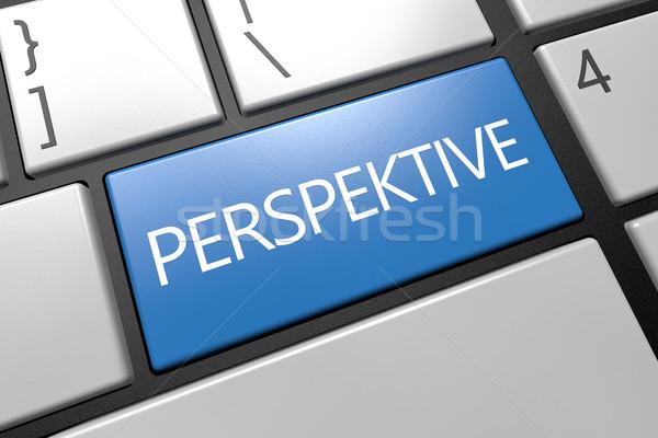 Palabra perspectiva teclado 3d ilustración azul Foto stock © Mazirama