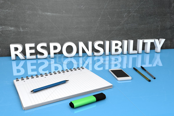 Verantwoordelijkheid tekst schoolbord notebook pennen mobiele telefoon Stockfoto © Mazirama