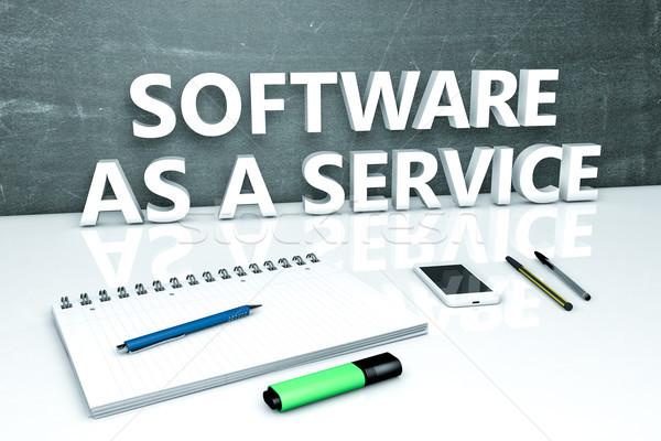 Stock fotó: Szoftver · szolgáltatás · szöveg · tábla · notebook · tollak