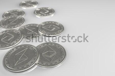 Moedas prata moeda assinar azul 3D Foto stock © Mazirama