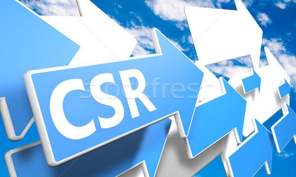 корпоративного социальной ответственность 3d визуализации синий белый Сток-фото © Mazirama