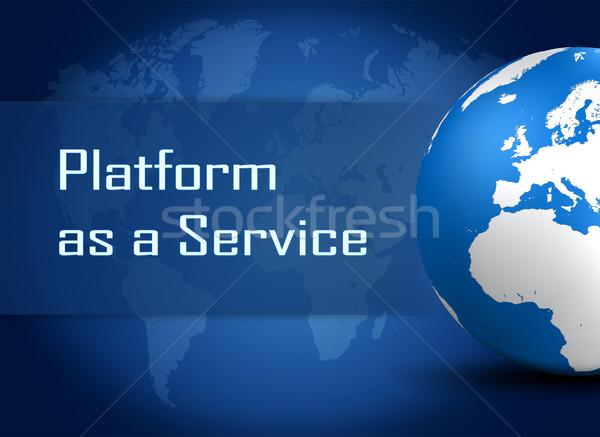 Vágány szolgáltatás földgömb kék világtérkép internet Stock fotó © Mazirama