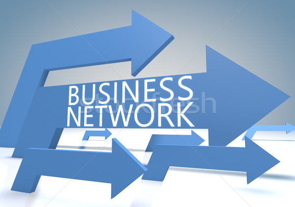 Бизнес-сеть 3d визуализации синий Стрелки интернет технологий Сток-фото © Mazirama