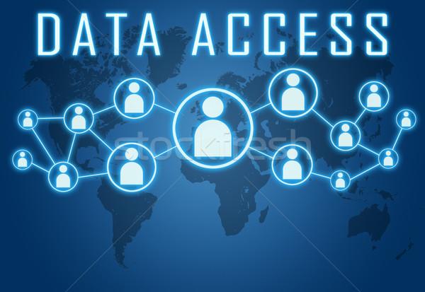 Données accès bleu carte du monde sociale icônes Photo stock © Mazirama