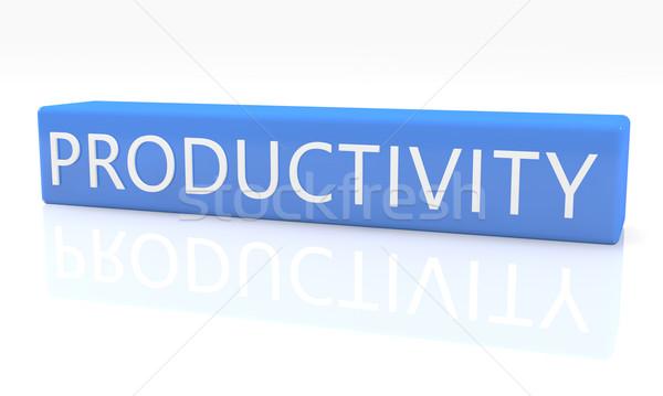 Produktivitás 3d render kék doboz szöveg fehér Stock fotó © Mazirama