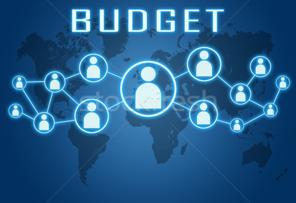 бюджет синий Мир карта социальной иконки бизнеса Сток-фото © Mazirama