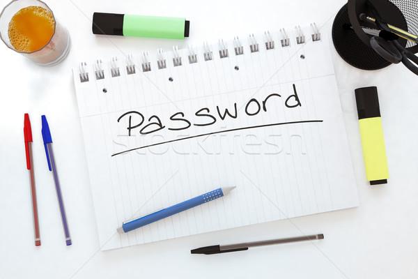 пароль текста ноутбук столе 3d визуализации Сток-фото © Mazirama