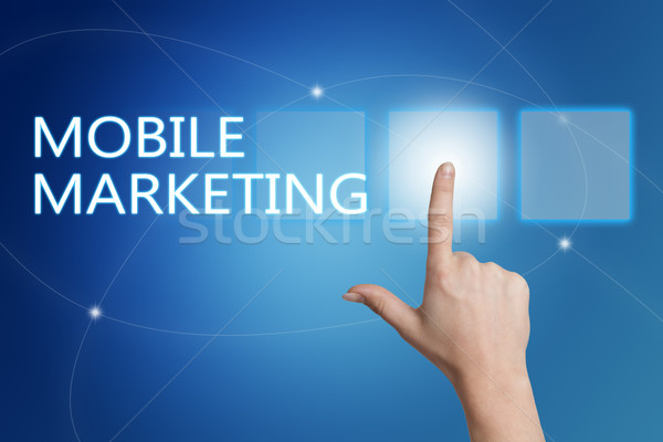 Mobiele marketing hand knop interface Stockfoto © Mazirama