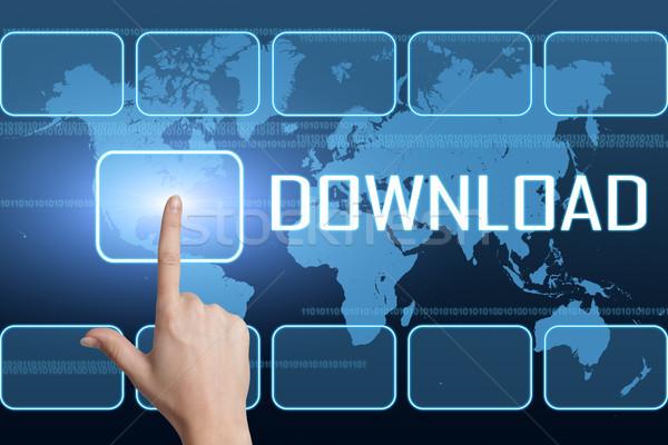 скачать интерфейс Мир карта синий компьютер стороны Сток-фото © Mazirama