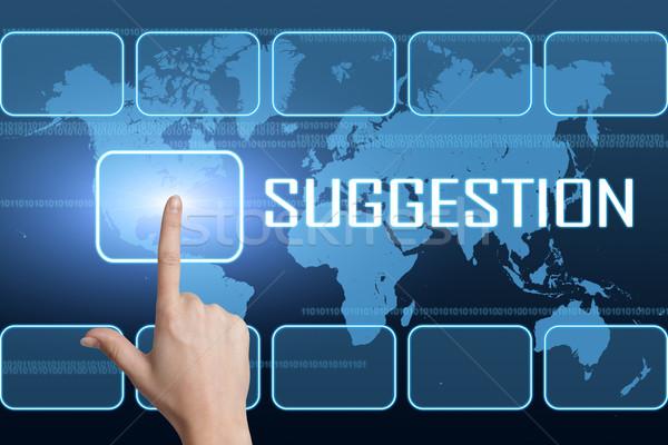 Sugestia interfejs mapie świata niebieski sukces Uwaga Zdjęcia stock © Mazirama