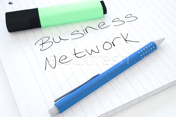 Business network tekst notebooka biurko 3d Zdjęcia stock © Mazirama