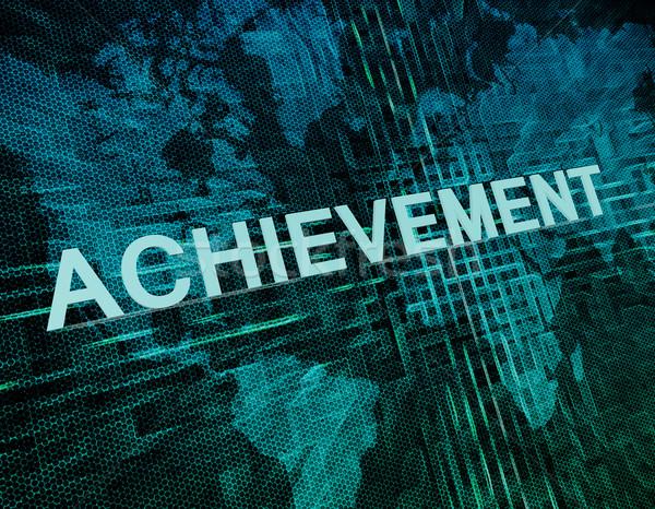 Stockfoto: Prestatie · tekst · groene · digitale · wereldkaart · toekomst