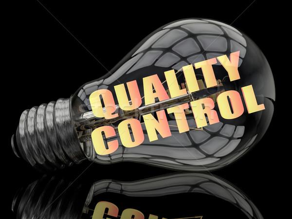 Kwaliteitscontrole gloeilamp zwarte tekst 3d render illustratie Stockfoto © Mazirama