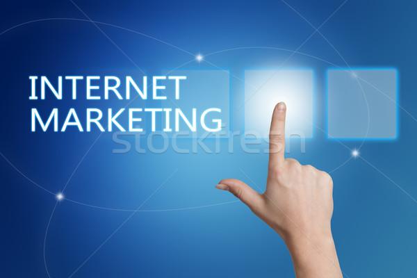 Интернет-маркетинг стороны кнопки интерфейс синий Сток-фото © Mazirama