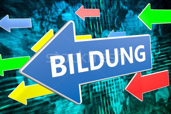 Słowo edukacji tekst niebieski arrow pływające Zdjęcia stock © Mazirama