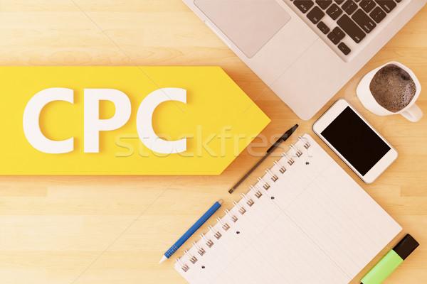 Kosten klikken lineair tekst pijl Stockfoto © Mazirama