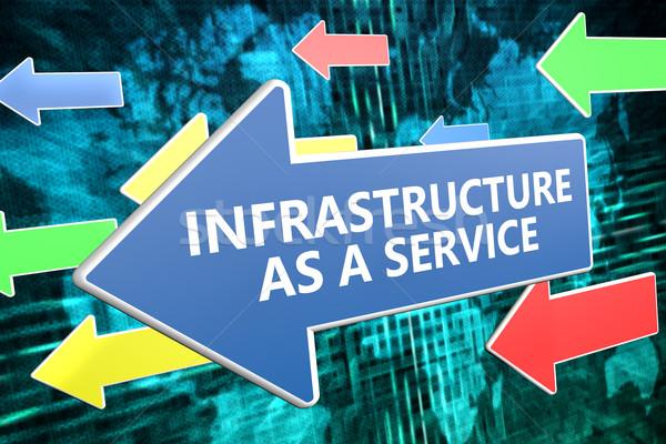 Infrastrutture servizio testo blu arrow battenti Foto d'archivio © Mazirama