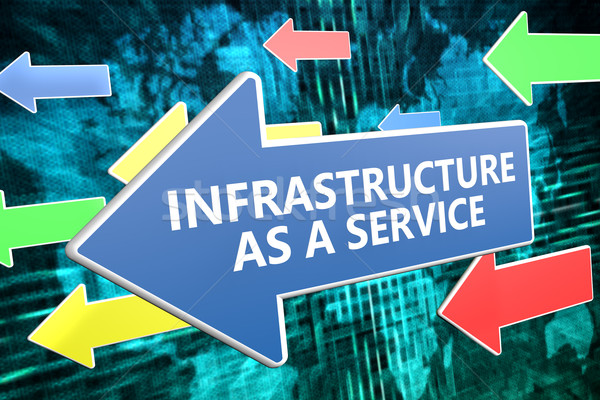 Infrastructuur dienst tekst Blauw pijl vliegen Stockfoto © Mazirama