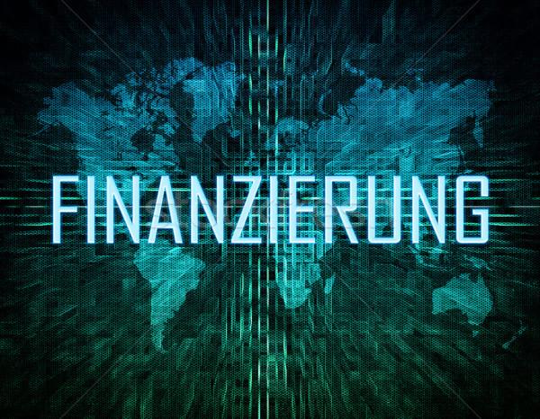 Kelime finansman metin yeşil dijital dünya haritası Stok fotoğraf © Mazirama