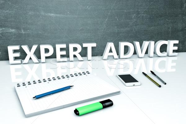 Expert advies tekst schoolbord notebook pennen Stockfoto © Mazirama