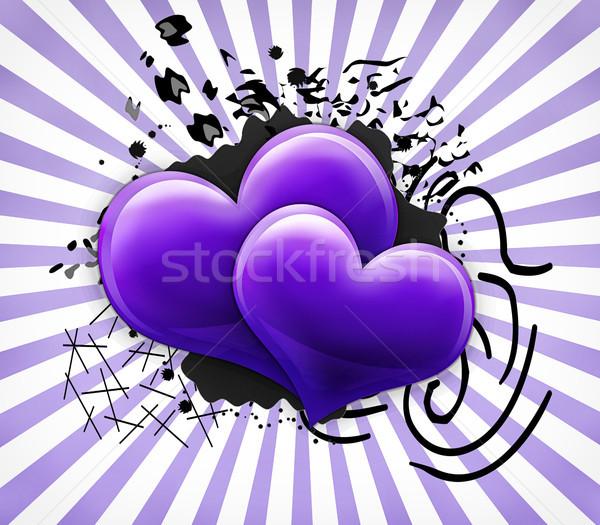 Stok fotoğraf: Sevgililer · günü · kart · iki · büyük · mor · kalpler