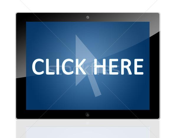 Comprimé cliquez ici souris curseur icône Photo stock © Mazirama