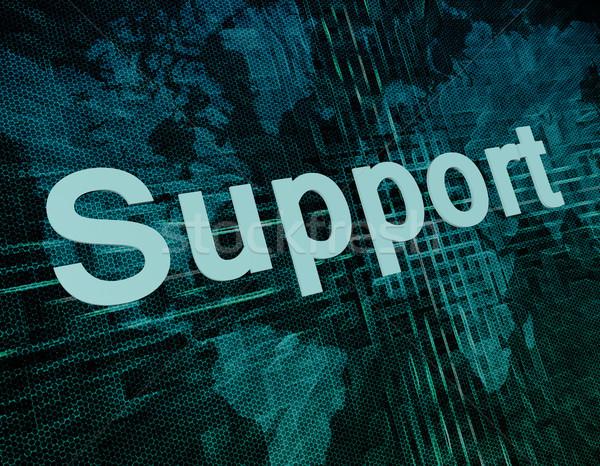 поддержки слов цифровой Мир карта бизнеса телефон Сток-фото © Mazirama