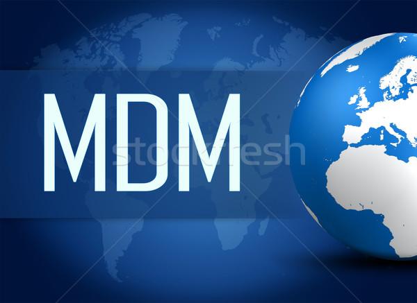 Hareketli yönetim dünya mavi dünya haritası Stok fotoğraf © Mazirama