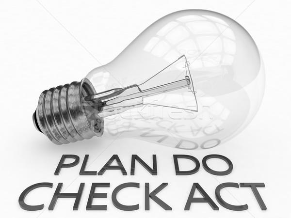 Plano verificar agir lâmpada branco texto Foto stock © Mazirama