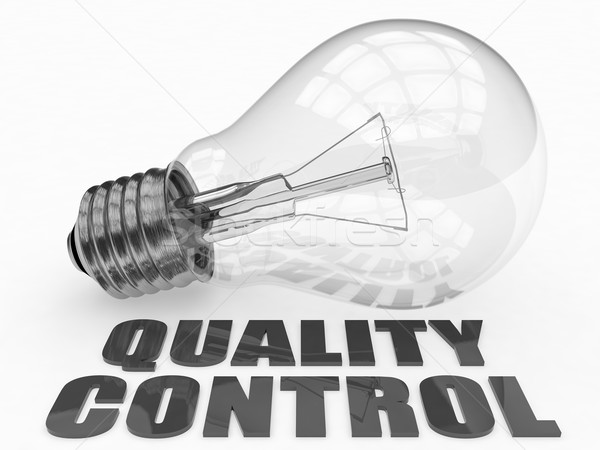 Kwaliteitscontrole gloeilamp witte tekst 3d render illustratie Stockfoto © Mazirama