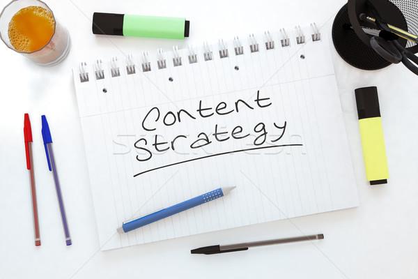 Contenu stratégie texte portable bureau Photo stock © Mazirama
