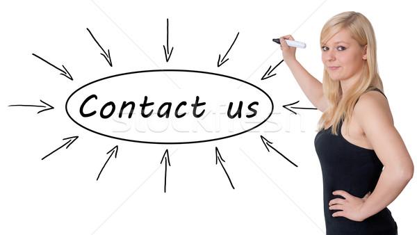 Kapcsolatfelvétel fiatal üzletasszony rajz információ tábla Stock fotó © Mazirama