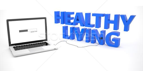 Sağlıklı yaşam dizüstü bilgisayar defter bilgisayar kelime beyaz Stok fotoğraf © Mazirama