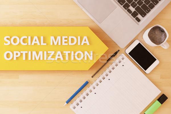Médias sociaux optimisation linéaire texte flèche portable Photo stock © Mazirama